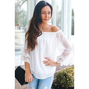 Dot Textured Lace Off the Shoulder Blouse