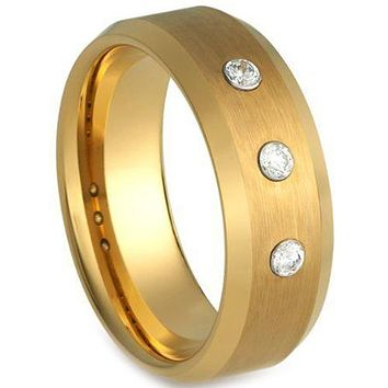Simple Gold Ring Gold Tone Tungsten Carbide Ring With 0.12ct Genuine White Diamond