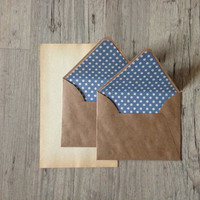 Crafted writing set - letter writing paper - brown envelope with vintage paper - beige blue polka dotted rustic - europeanstreetteam