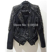 Women's punk RIVETS STUDDED Motorcycle PU Leather Spike Jacket autumn winter european style clothing outerwear women coats 2015