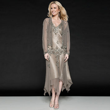 2016 Mother of the Bride Dresses with Jacket Chiffon Full Sleeves Mother of Groom Dress Elegant Outfits for Weddings