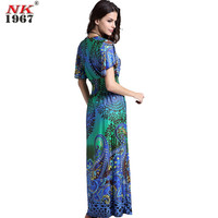 NK1967 The Single Ice Silk Dress Printing On A Large Lotus Butterfly Sleeve Dress 2016 Summer V-Neck Long Dress