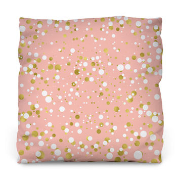 Gold and White Confetti Outdoor Throw Pillow