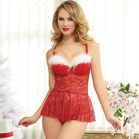 Hot Christmas Lingerie Sexy Pajamas Womens Sexy Lingerie Strap Babydolls Sleepwear Sexy Lady Red Fancy Underwear Temptation Red