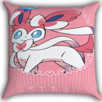 Pokemon X Y SYLVEON Pink Cute Kawaii Polka Dot Zippered Pillows  Covers 16x16, 18x18, 20x20 Inches