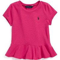 Ralph Lauren Peplum Tee (Toddler Girls & Little Girls)