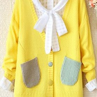 V-neck long-sleeve sweater knit cardigan from Fanewant