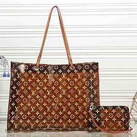 LV Louis Vuitton Fully Printed Logo Transparent Shoulder Bag Shopping Bag Mother Bag Two-piece Set