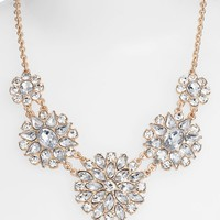 Junior Women's BP. Crystal Flower Statement Necklace - Crystal