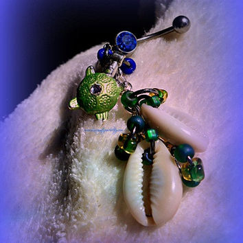 Turtle Shell Belly Ring, Nautical Jewelry, Sea Turtle, Beach Jewelry, Navel Jewelry, Ready to ship, Direct checkout