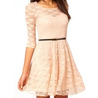 Uoften Sexy Spoon Neck 3/4 Sleeve Lace Skater Dress Belt S Beige:Amazon:Clothing