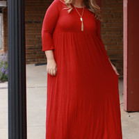 Take Me By The Hand High Waist Maxi Dress ~ Rust ~ Sizes 12-18