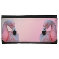 Pink Flamingo Large Faux Leather Wallet