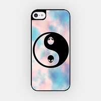 for iPhone 5C - High Quality TPU Plastic Case - Yin Yang Alien - Galaxy - Pink Clouds - Hipster