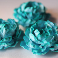 Turquoise shaded handmade roses