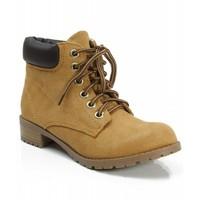 New Soda Equity-S Padded Collar Ankle Lace Up Boot BLOND