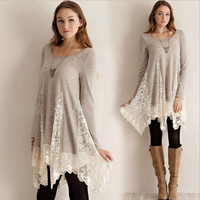 Gray Long Sleeve Knit Dress with Lace