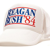 Ronald Reagan George Bush 84 Campaign Hat Cap Curved White/White