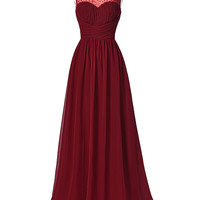 Hot Sell Long Burgundy Prom Dresses 2016 Sleeveless V-Back Chiffon Ombre Dress Strazz Ruched Wedding Dinner Dress Prom Gowns