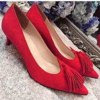 Christian Louboutin Fashion Edgy Pointed Heels Shoes-2