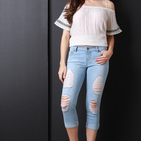Distress Cuff Capri Denim Jeans