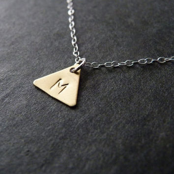 Triangle Necklace with Initial, Geometric Jewelry, STERLING SILVER, Custom, Handstamped, Mixed metal jewelry
