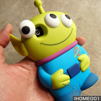 Blue Cute 3D Eyes Alien Toy Story Movable Eye Hard Case Cover For Iphone4S/4G/4