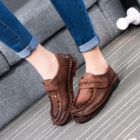 Vintage Genuine Leather Soft Cow Muscle Flat