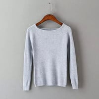 Plain Long-Sleeve Knitted Shirt