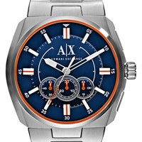 Men's AX Armani Exchange Chronograph Bracelet Watch, 48mm x 45mm - Stainless/ Navy