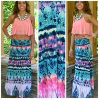 Sea Spell Pink Multi Tie-Dye Maxi Skirt