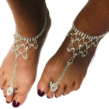 1 Pair Barefoot Sandal Rhinestone Diamond Bling Beach Wedding Bride Ankle Bracelet Toe Ring Foot or Hand Jewelry