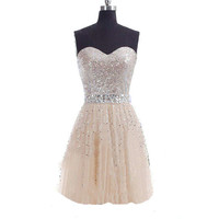 Sweetheart Short Tulle Sequin Prom Dress 2014 Bridesmaid Dress