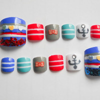 Nautical Nails, 3D Fake Nails, Press on Nails, Fake Toenails, False Toenails, Toe Nails, Toe Nail Art, Toenail Art, Press on Toenails