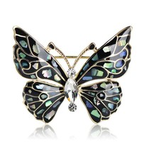 Beautiful Abalone Butterfly Brooch.   3.7 X 3.1cm in Size.   Available in Black and Red.   ***FREE SHIPPING***