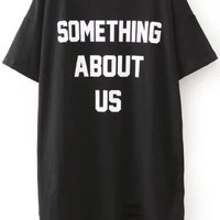Something About Us Graphic Print Black Short Sleeve Ripped Shirt Dress