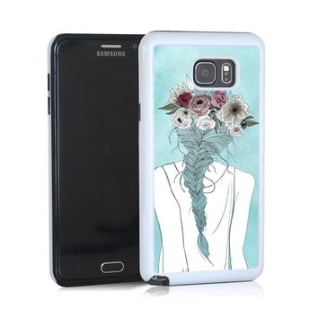 Flower crown girl illustration on blue for Note 5
