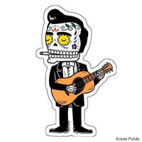 Johnny Cash Calavera Die Cut Clear Vinyl Sticker Sugar Skull - Day of the Dead - Weather Proof Decal
