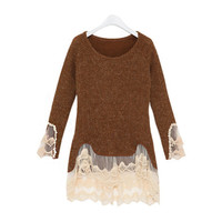 Floral Lace Paneled Sweater(N1118)