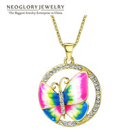 Neoglory Gold Plated Colorful Enamel Butterfly Necklaces Pendants Fashion Brand Jewelry Birthday Gifts 2016 New ENA1 JS6 But-e