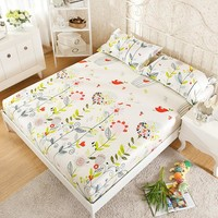 100% Cotton Modren Bed sheets Printed Flower Fitted Sheet Mattress Cover Simply Elastic Edge Fixed Mattress Topper Cozy Bedding