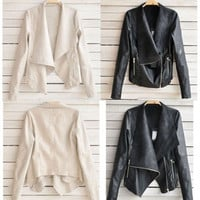 Fashion Autumn Winter Women Lady PU Leather Coat Jacket Women Basic Coats Jackets Women Casual coat Jacket Women Outcoat L/M/XL/2X/3X 2 Colors Black & Taupe = 1929585284