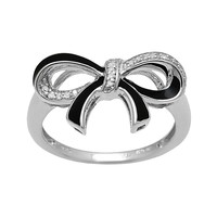 Sterling Silver Round-Cut Diamond Accent Bow Ring (Black)