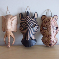 Safari Mask Trio /// Vintage Mask /// Safari Decor