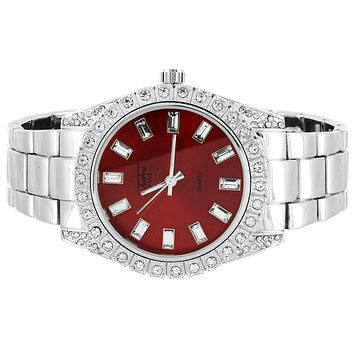 Mens Silver Tone Red Face Baguette Dial Icy Bezel Watch
