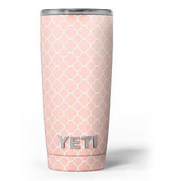 The Mint Pink Morocan Pattern - Skin Decal Vinyl Wrap Kit compatible with the Yeti Rambler Cooler Tumbler Cups