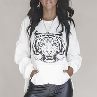 Go or Geaux White Graphic Tiger Pullover