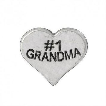 Floating Number One Grandma Heart Charm Compatible With Origami Owl Lockets