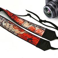 Vintage Camera Strap. Flowers Camera Strap. Music Camera Strap.Notes Camera Strap