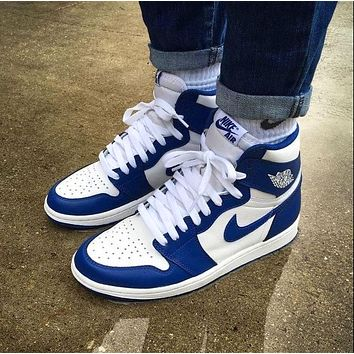 Nike Air JORDAN 1 New couple color block casual sneakers